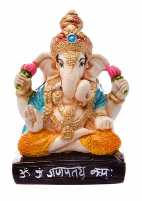 Karigaari India Handcrafted Resine Little Sitting Ganesha Idol Sculpture Vinayaka Showpiece Ganesha Idols
