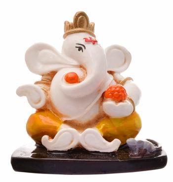 Karigaari India Handcrafted Resine Little Sitting Ganesha Idol Sculpture Vinayaka Showpiece Ganesha Idols