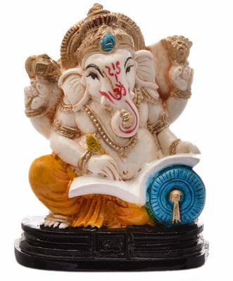 Karigaari India Handcrafted Resine Little Writing Ganesha Idol Sculpture Vinayaka Showpiece Ganesha Idols