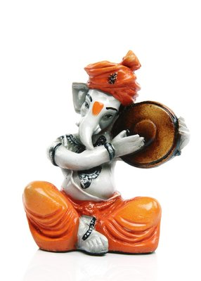 Aadaa Musical Ganesha Polyresin Figurine - (7.5x14x7.5 in, Multicolor)