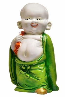 Karigaari India Green Color Happy Buddha Showpiece