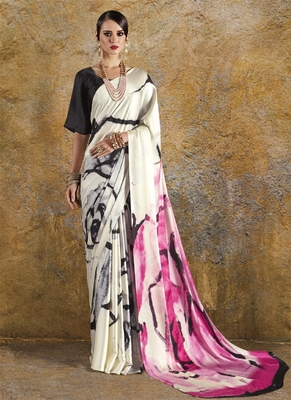 Off white printed crepe saree with blouse