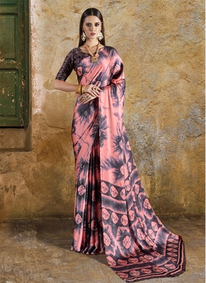 Peach printed crepe saree with blouse