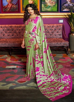 Parrot green printed crepe saree with blouse
