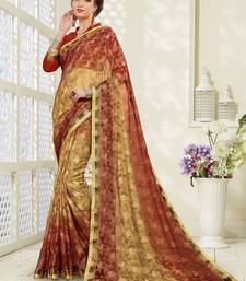 Buy Light brown brasso saree with blouse brasso-saree online