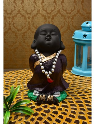Karigaari India Handcrafted Resine Little Buddha Monk Sculpture
