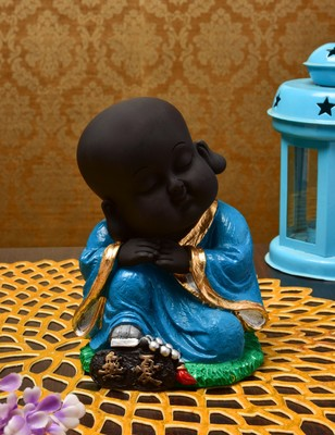 Karigaari India Handcrafted Resine Little Sitting Buddha Monk Sculpture