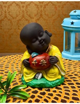 Karigaari India Handcrafted Resine Little Yellow Buddha Monk Sculpture