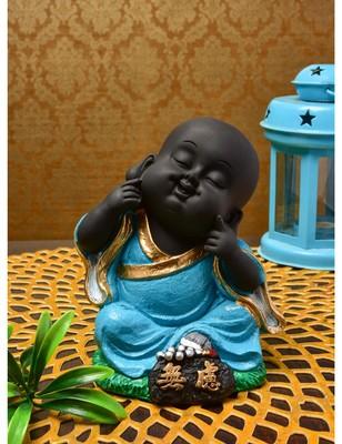 Karigaari India Handcrafted Resine Little Turquoise Buddha Monk Sculpture