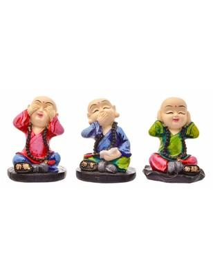 Karigaari India Handcrafted Set of Three Wise Buddha See Hear Speak No Evil Resine Little Buddha Monk Sculpture