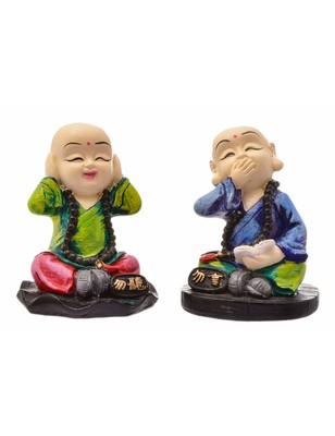 Karigaari India Handcrafted Set of 2 Resine Little Buddha Monk Sculpture