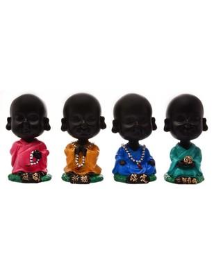 Karigaari India Handcrafted Set of 4 Resine Little Buddha Monk Sculpture