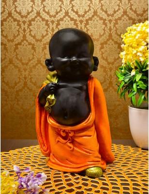 Karigaari India Handcrafted Resine Little Orange Buddha Monk Sculpture