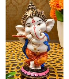 Karigaari India Handcrafted Resine Playing Flute Ganesha Idol Sculpture