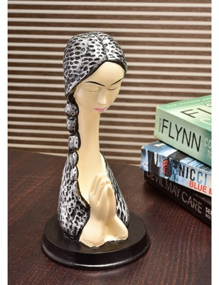 Karigaari India Handcrafted Resine Lady Praying Sculpture | Showpiece for Home and Office