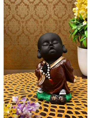 Karigaari India Handcrafted Resine Little Brown Blessing Lord Buddha Monk Idol Sculpture | Showpiece for Home and Office