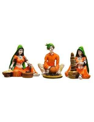 Karigaari India Handcrafted Polyresine Traditions Set of 3 Rajasthani Showpiece for Home Decor