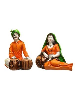 Karigaari India Handcrafted Traditions of Rajasthani Lady in Resting Posture and Man Playing Tabla Polyresine Showpiece