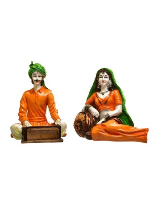 Karigaari India Handcrafted Traditions of Rajasthani Lady in Resting Posture and Man Playing Harmonium Polyresine