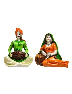 Karigaari India Handcrafted Traditions of Rajasthani Lady in Resting Posture and Man Playing Dholak Polyresine Showpiece