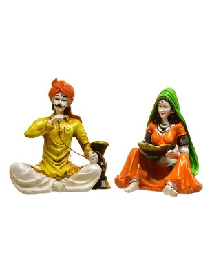 Karigaari India Handcrafted Traditions of Rajasthani Lady with Supda and Man Drinking Hukka Polyresine Showpiece