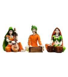 Karigaari Indian Handcrafted Traditions of Rajasthani Different Cultures Figurines Playing Instruments Polyresine