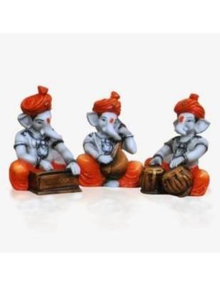 Karigaari Ganesha Playing Veena, Tabla and Harmonium Polyresine Idol (12.7 cm x 12.7 cm x 12.7 cm, Set of 3)