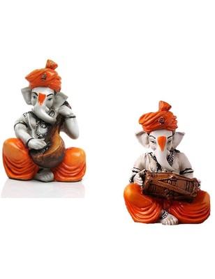 Karigaari India Handcrafted Set of 2 Polyresine Ganesha Playing Instrument Showpiece