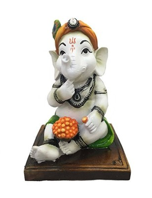 Karigaari Resine India Dhoti Ganesha Eating Ladoo Showpiece (Green, Standard Size)
