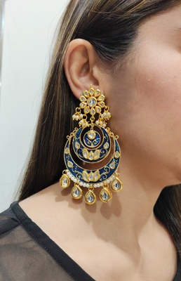 Blue Kundan Meenakari Earrings