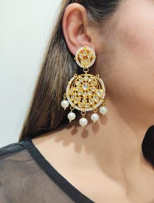 Ada White Kundan Earrings