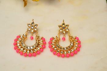 Neon Pink Kundan Chandbali Earrings