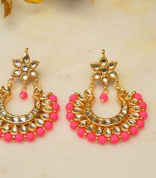Neon Pink Kundan Chandbali Earrings
