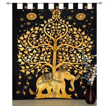 indian Elephant Tab top curtain Tree of life curtains,1 Panel Set Mandala Curtain, Twin Tapestry, Drapes & Valances