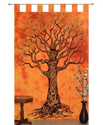 INDIAN Tree of life Kitchen Window Curtains & Valances Set Dorm Tab top Tapestry Drape Balcony Boho Set Hippie Panel