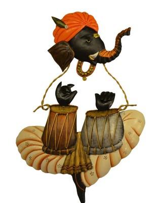 Karigaari Ganesha Playing Tabla Iron Wall Hanging (30.48 cm x 5 cm x 43.18 cm)