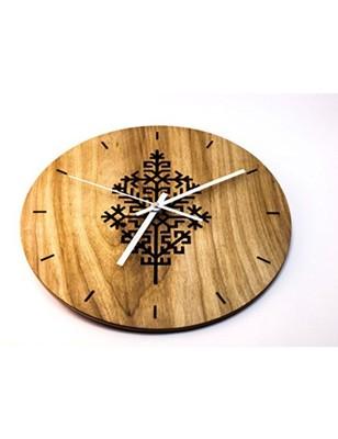 Karigaari India Round Wooden Cutwork Wall Clock (Size : 12 x 12 Inches) - Brown & Black