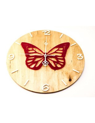 Karigaari India Round Wooden Butterfly Wall Clock (Size: 12 x 12 inches) - Brown & Red