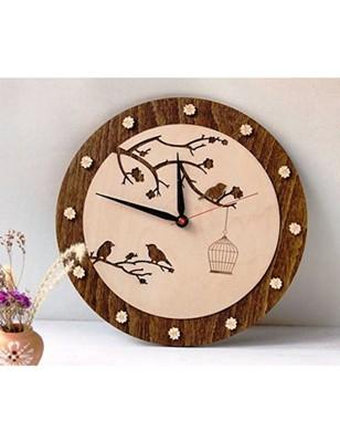 Karigaari India Round Stylish Wooden Birds on Tree Designer Wall Clock (Size: 12 x 12 inches) - Brown