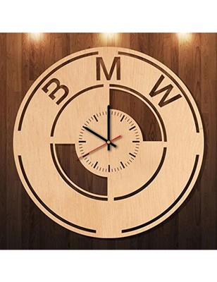Karigaari India Wooden BMW Stylish Round Wall Clock (Size : 12 x 12 Inches) Brown