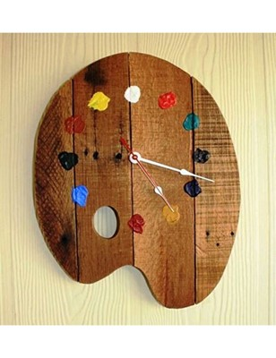 Karigaari India Wooden Paint Pallete Stylish Wall Clock For Your Art Rooms Size 12 X Inches Brown 2790437