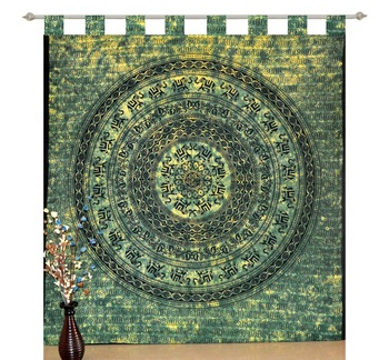 Mandala Bedroom Window Tab top Curtains Drape Balcony Room Curtain Boho Set Tapestry Curtains, Drape & Valances Bohemian