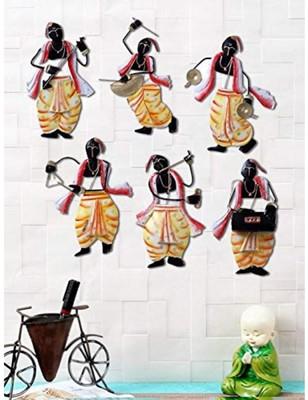 Karigaari India Set of 6 Different Instrument Playing Panditji Showpiece Wall Hanging Art Decorative Showpiece