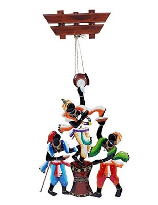 Karigaari India Wrought Iron Krishna Stealing Makkhan with Friends Wall Hanging I Makkhan Chor Wall Hanging