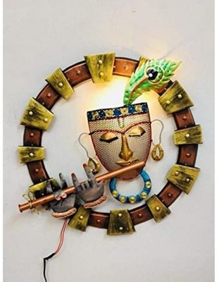 Karigaari Metal LED Krishna Playing Flute Art Wall Hanging (19x19 Inches, Multicolour, JDPW18)