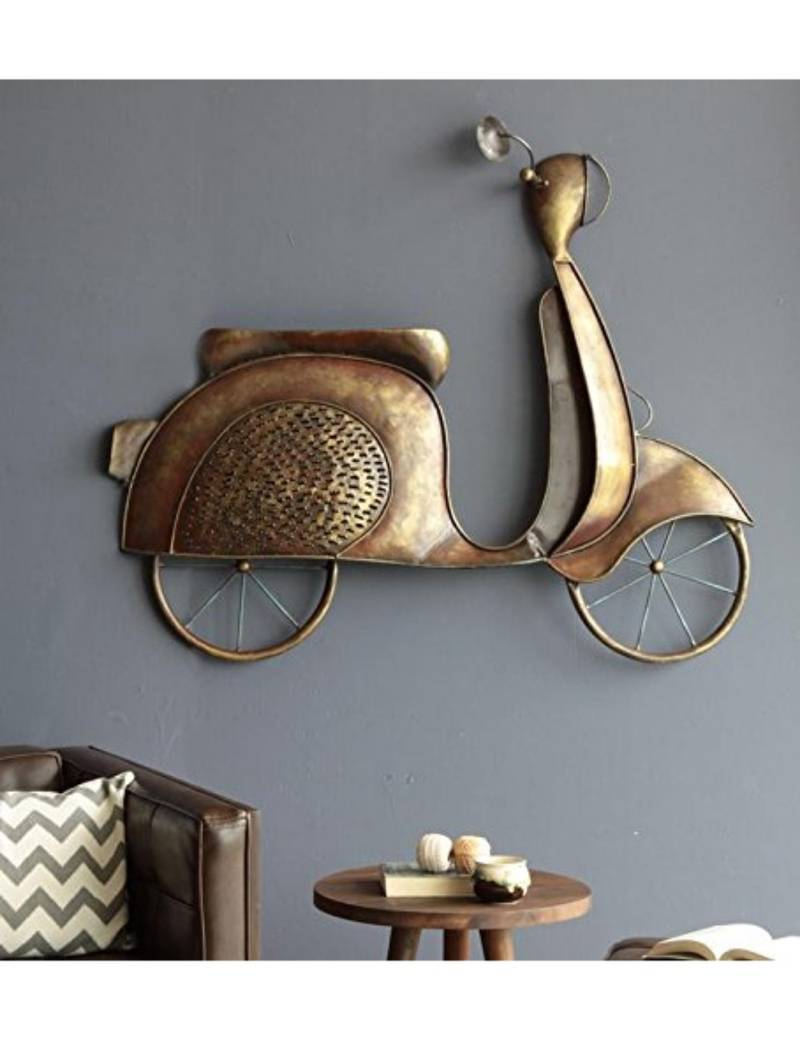 Karigaari India Bronze Iron Scooty Hanging Wall Decor Best For Home Decor Kids Room Wall Standard Multicolour