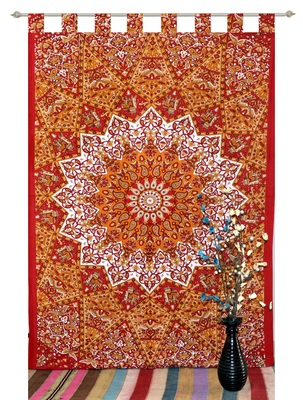 indian Tab top curtain Mandala curtains, 1 Panel Set Mandala Curtain Tab top Tapestry, Drapes & Valances, Window Curtain