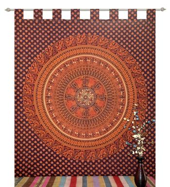 indian Tab top curtain Mandala curtains, 1 Panel Set Mandala Curtain Tab top Tapestry, Drapes & Valances, Window Curtain