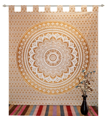 Boho Living Room Tab top Curtains, Bohemian Curtains For Bedroom, Tapestry Curtains, Mandala Hippie Dorm Decor