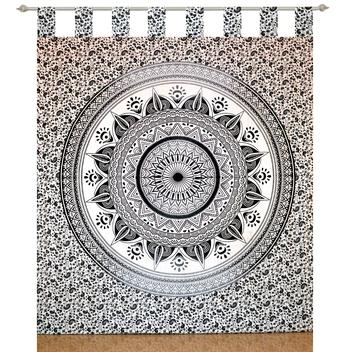Boho Living Room Tab top Curtains, Bohemian Curtains For Bedroom, Tapestry Curtains, Mandala Hippie Dorm Decor